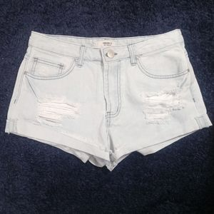 Forever 21 Distressed Raw Hem Denim Shorts